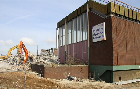 The first Maltby Centre being demolished