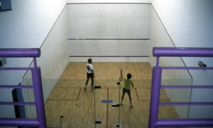Glass-backed squash court